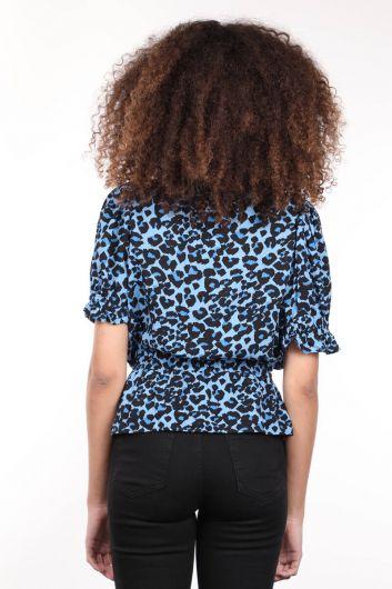 Синий узорчатый двубортный воротник с эластичным поясом женская блузка - Thumbnail