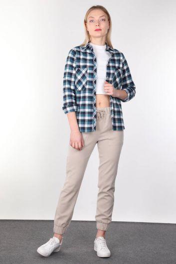 Blue Plaid Women Shirt - Thumbnail
