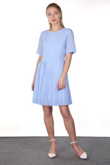 Blue Pleated Rib Detailed Short Sleeve Women's Dress - Thumbnail