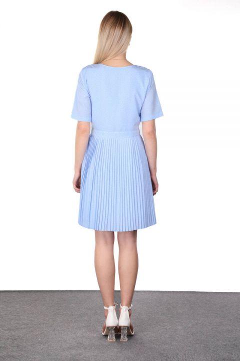 Blue Pleated Rib Detailed Short Sleeve Women's Dress