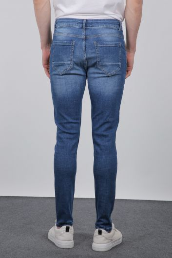 Синие мужские джинсовые брюки Slim Fit - Thumbnail