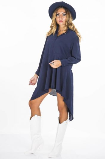 BLUE WHITE - Blue White Asymmetric Tunic (1)