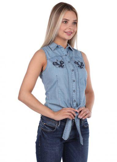 BLUE WHITE - Синий Белый Галстук Женщина Джинсовая Рубашка (1)