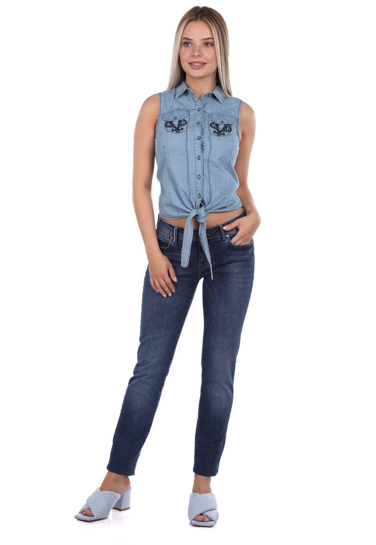 Blue White Bağlamalı Kadın Jean Gömlek