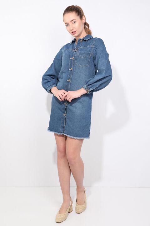فستان جينز نسائي بأكمام بالون أزرق أبيض