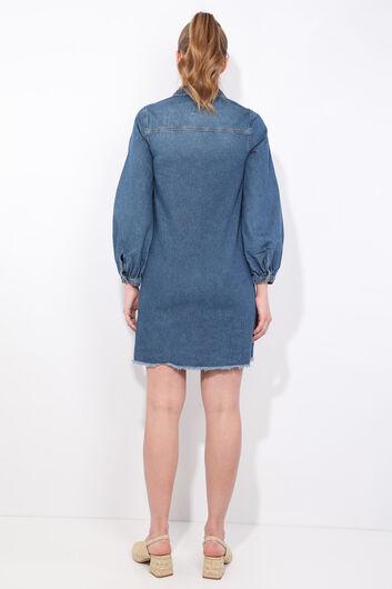 فستان جينز نسائي بأكمام بالون أزرق أبيض - Thumbnail