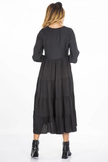 فستان طويل كشكش أبيض أزرق - Thumbnail