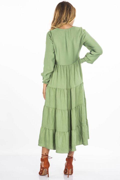 Blue White Long Ruffle Dress