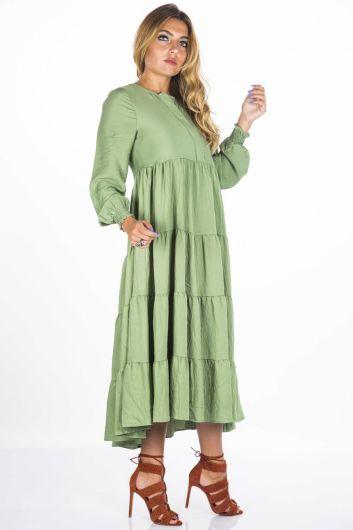 Blue White Long Ruffle Dress - Thumbnail