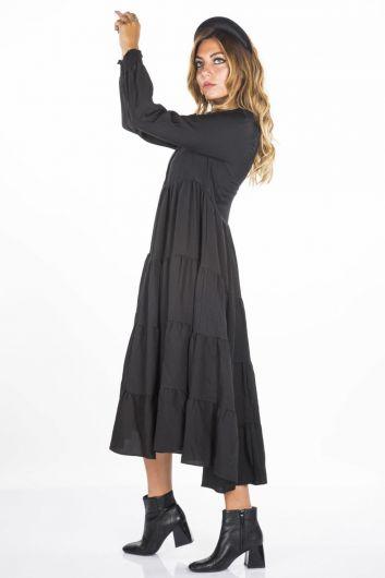 Blue White Uzun Volanlı Elbise - Thumbnail