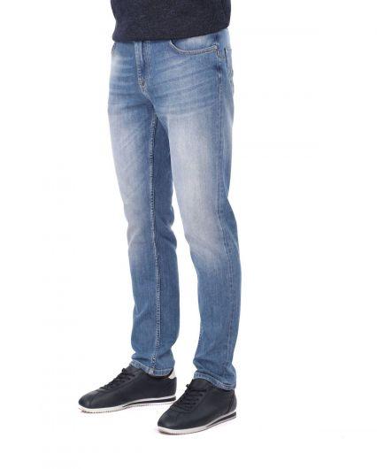 BLUE WHİTE - Брюки мужские джинсовые синие белые (1)