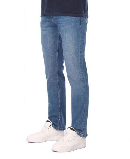 BLUE WHITE - Брюки мужские джинсовые синие белые (1)