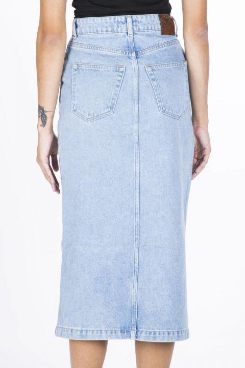 Blue White Kadın Düğmeli Midi Jean Etek