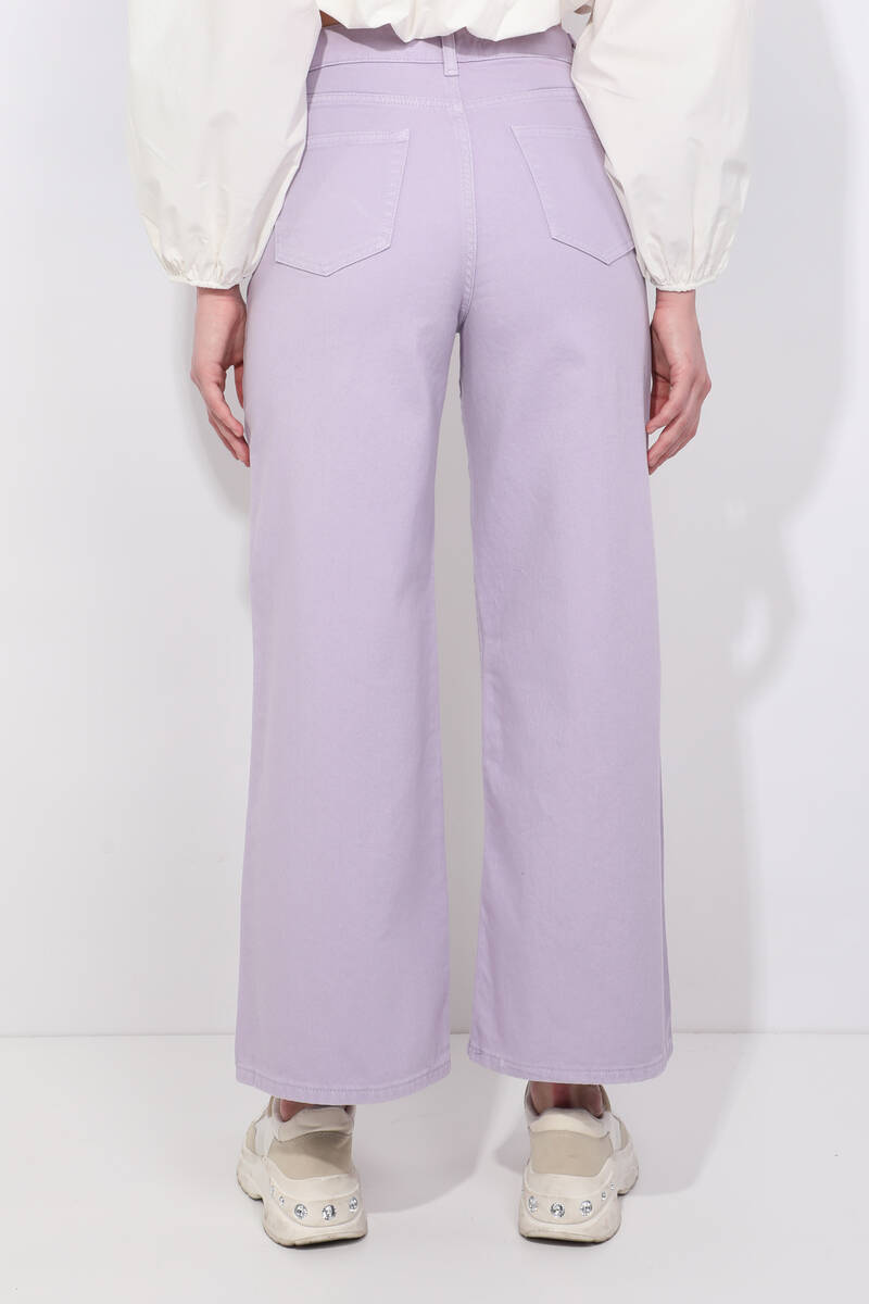 Blue White Geniş Paça Lila Jean Pantolon