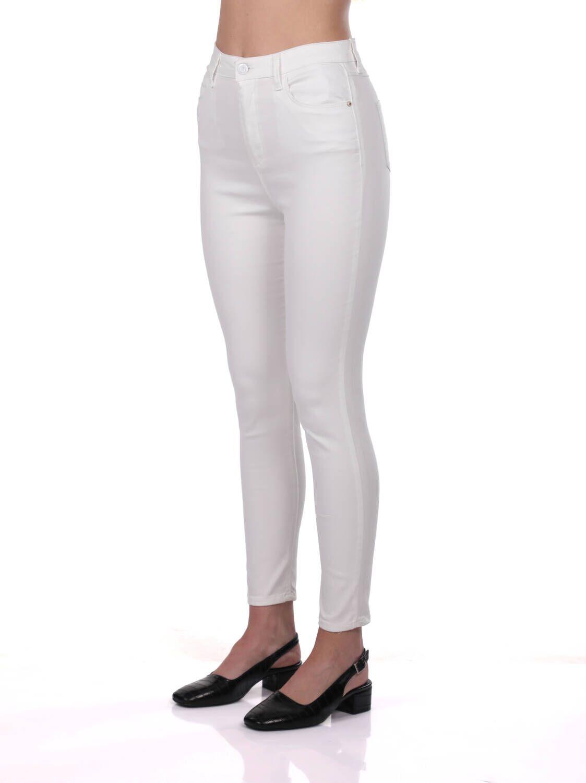 Blue White Kadın Beyaz Yüksek Bel Jean Pantolon
