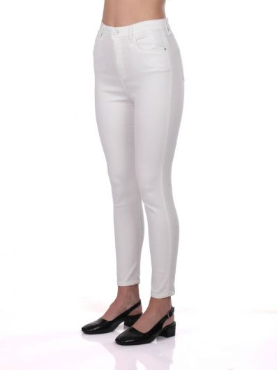 Blue White Kadın Beyaz Yüksek Bel Jean Pantolon - Thumbnail