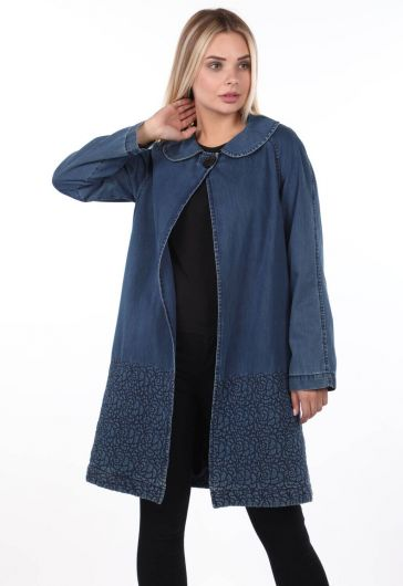 Blue White Kadın Jean Ceket - Thumbnail