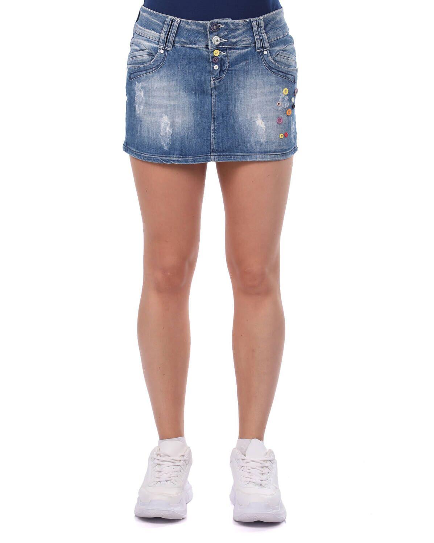 Blue White Kadın Düğmeli Mini Jean Etek