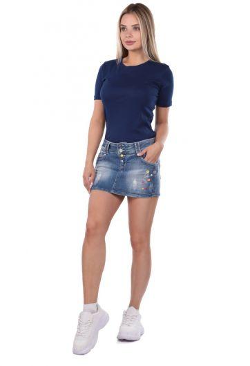 Blue White Kadın Düğmeli Mini Jean Etek - Thumbnail
