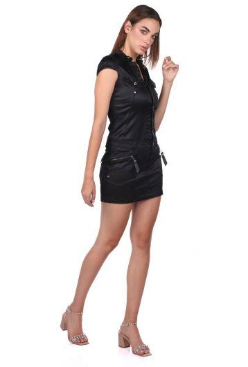 Blue White Kadın Siyah Jean Elbise - Thumbnail