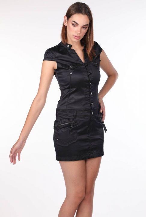 Blue White Kadın Siyah Jean Elbise