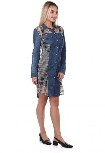BLUE WHITE - Blue White Düğmeli Kot Elbise (1)