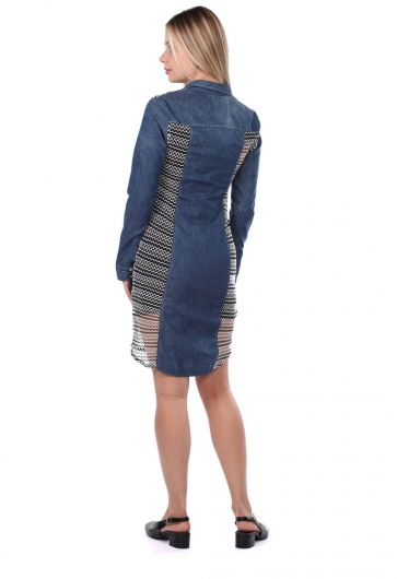 Blue White Düğmeli Kot Elbise - Thumbnail
