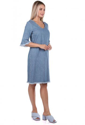 BLUE WHITE - Kadın Mavi V Yaka Jean Elbise (1)