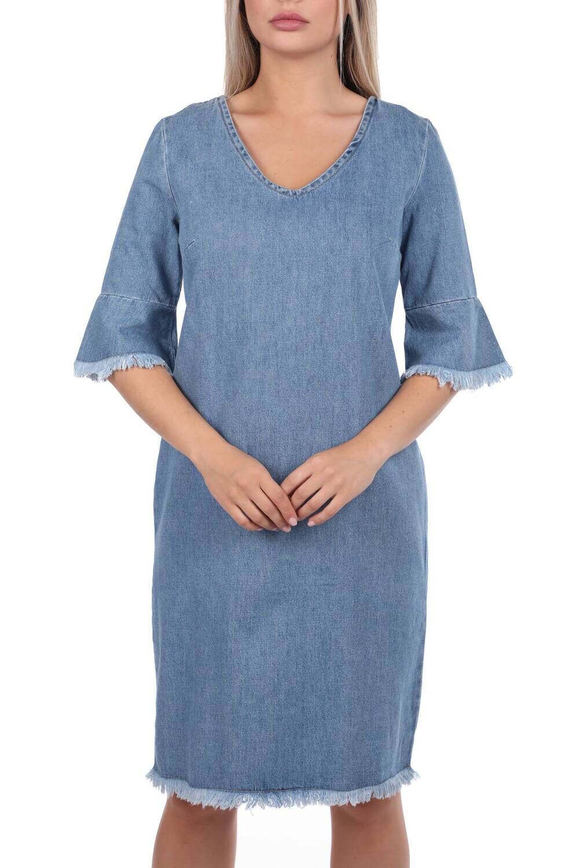 Kadın Mavi V Yaka Jean Elbise