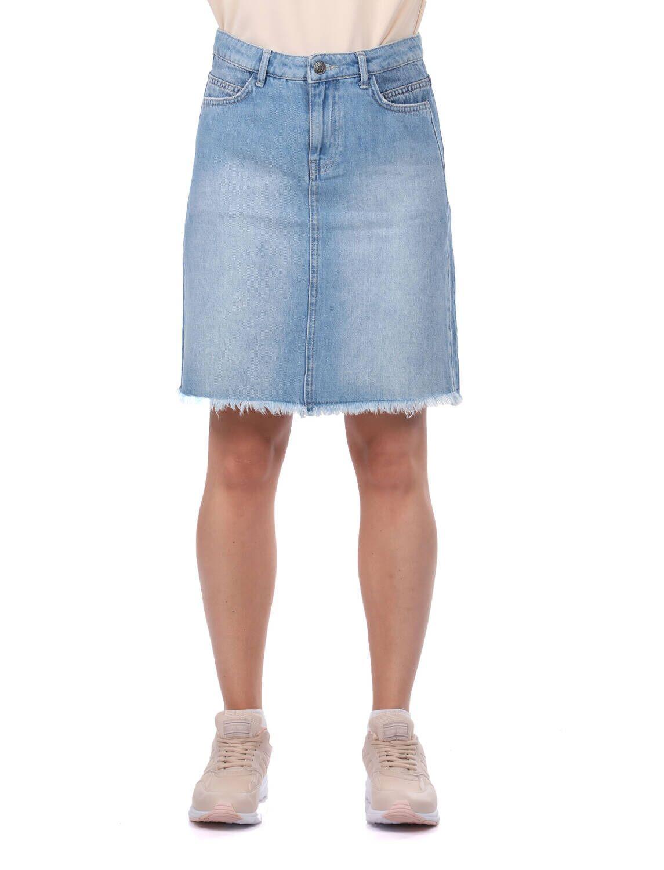 Blue White Kadın Jean Etek