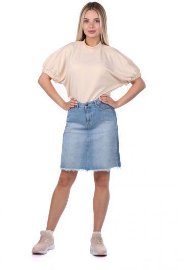 Blue White Kadın Jean Etek - Thumbnail