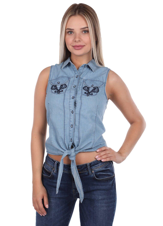 Blue White Dantel Detaylı Jean Gömlek