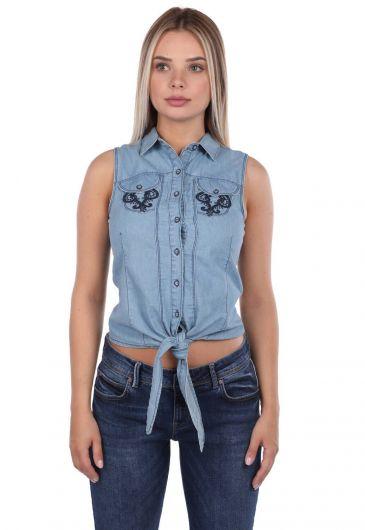 Blue White Dantel Detaylı Jean Gömlek - Thumbnail