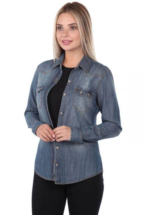 Blue White Kadın Jean Gömlek