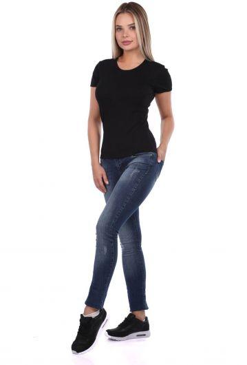 Blue White Kadın İndigo Slim Fit Jean Pantolon - Thumbnail