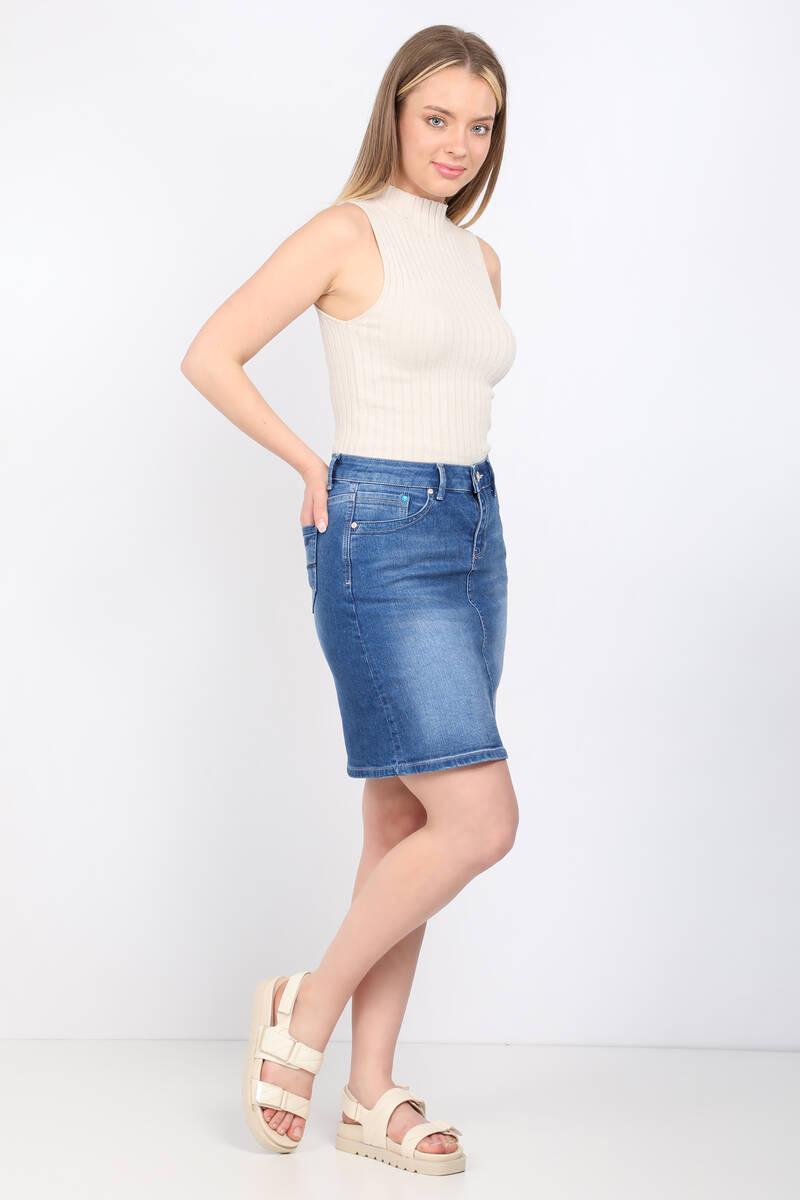 Blue White Kadın Jean Etek Diz Üstü