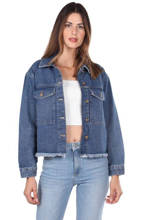 Blue White Cepli Kadın Jean Ceket