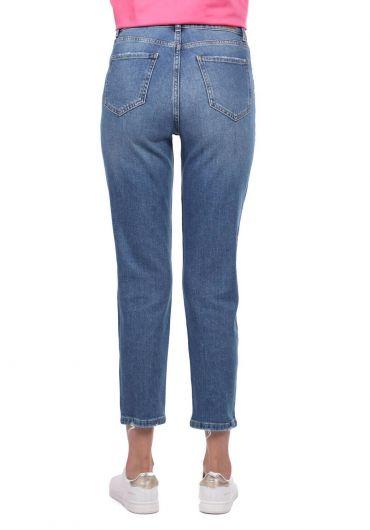 Blue White Kadın Mavi Regular Fit Jean Pantolon - Thumbnail
