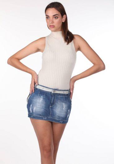 Blue White Kadın Mini Jean Etek - Thumbnail