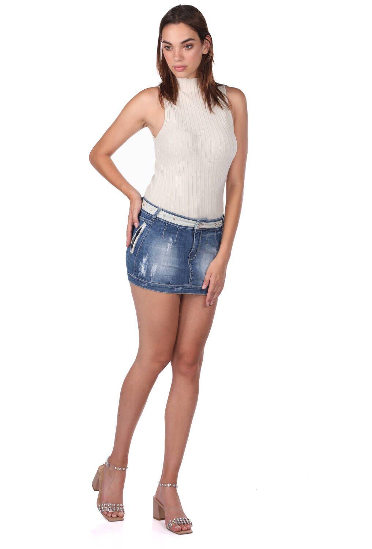 Blue White Kadın Mini Kot Etek