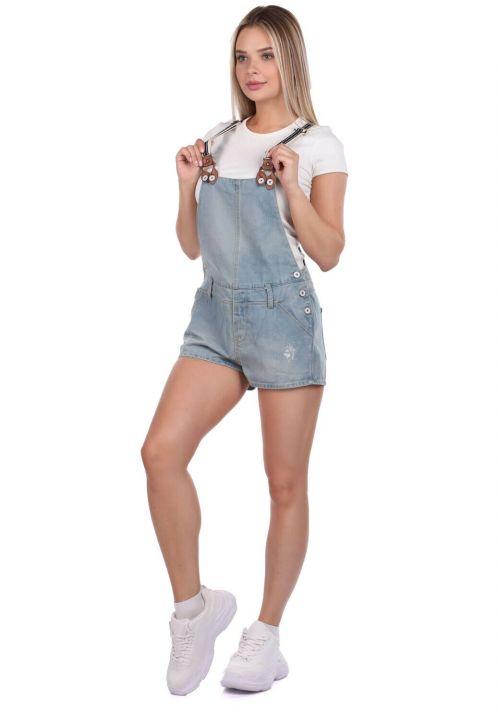 Blue White Kadın Mini Jean Tulum Şort