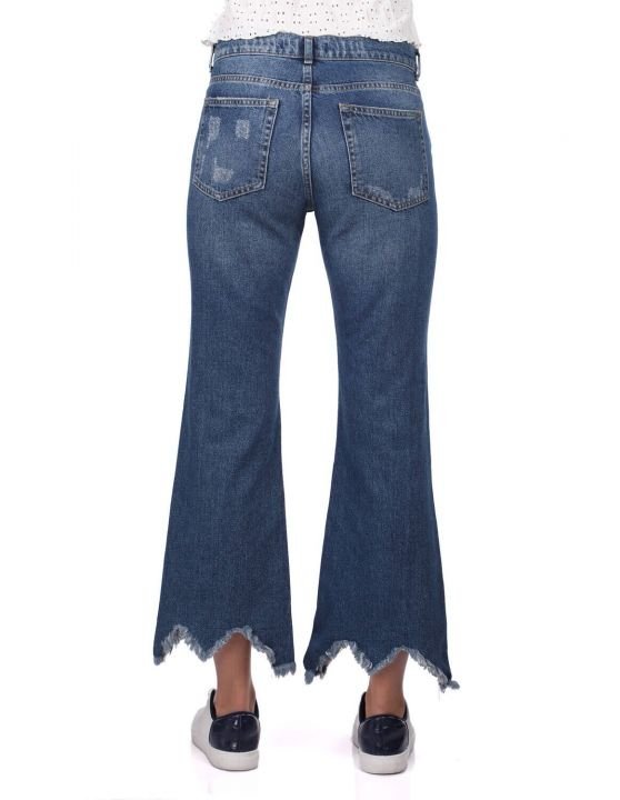 Blue White Kadın Mom Fit Jean Pantolon