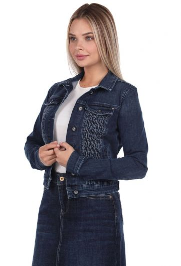 BLUE WHITE - جاكيت جينز نسائي أزرق وأبيض (1)