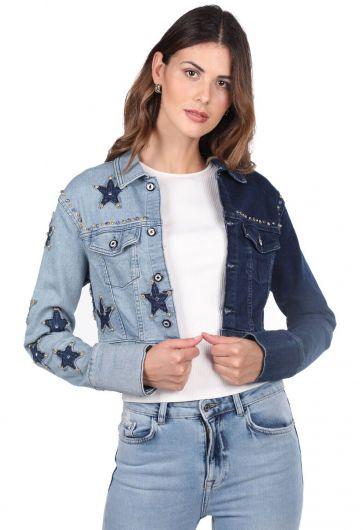 Blue White Kadın Yıldız Detaylı Jean Ceket - Thumbnail