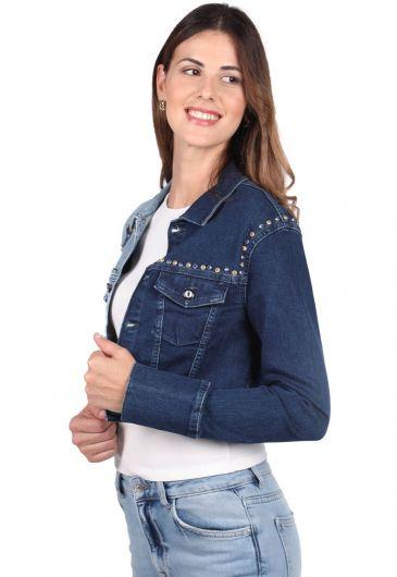 Blue White Kadın Yıldız Detaylı Ceket - Thumbnail