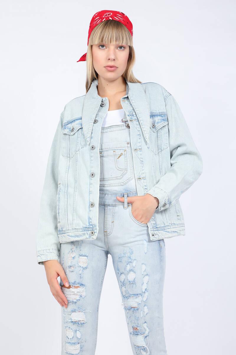 Blue White Kadın Jean Ceket