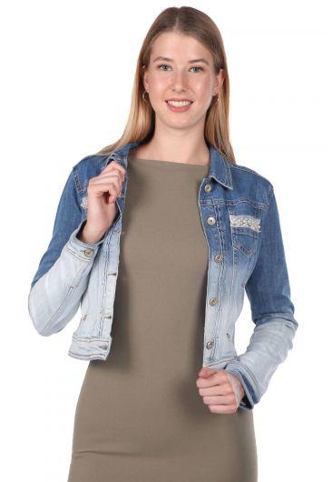 Blue White Kadın Kot Ceket - Thumbnail