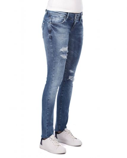 Blue White Yırtık Detaylı Kadın Jean Pantolon - Thumbnail