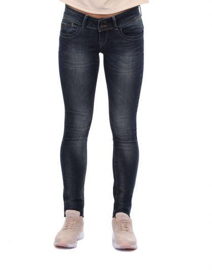 Blue White Arka Cep Fermuarlı Kadın Jean Pantolon - Thumbnail
