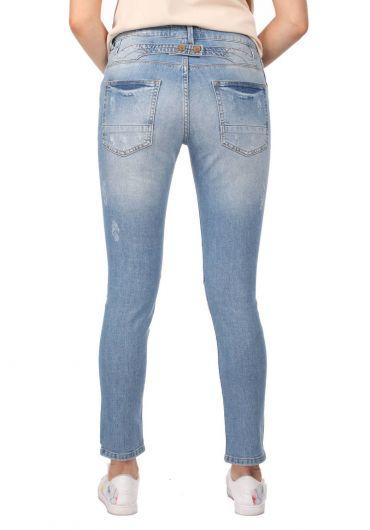 Blue White Düğmeli Yırtık Kadın Jean Pantolon - Thumbnail